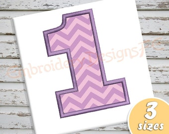 Number 1 Applique - 3 Sizes - Machine Embroidery Design File