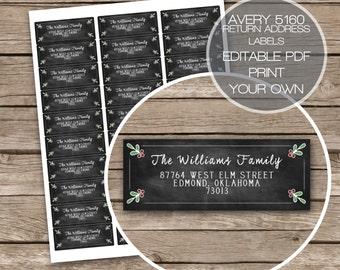Christmas Holly Chalkboard Return Address Labels Printable Avery 5160 Rustic Instant Download Digital File Editable PDF Edit Yourself