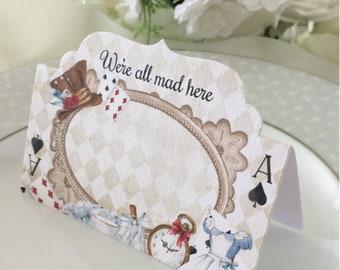 Alice in Wonderland 8 Tent Cards, Wonderland Place Name Cards, Wonderland Wedding Cards - Wonderland Name Cards, Alice Wedding Decorations