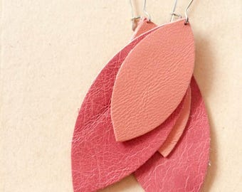 Genuine Leather Salmon and Coral Tones Petals Earrings on Big Silver Finish Long Drop Kidney Earhooks