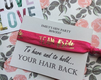 Hen Party Wristband / Hair Tie - Bride Tribe / Team Bride - Can Be Personalised With Any Name + FREE wristband, Hen Party, Hen Party Gift