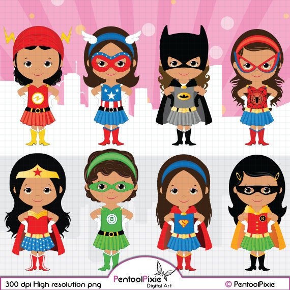 African American Superhero Girls Clipart Girl Power Clipart