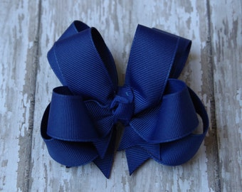 """Girls Hair Bow Royal Blue 4"""" Boutique Layered Hairbow"""