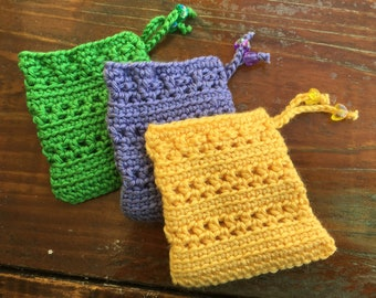 3.5 x 4in. Crochet String Pouch