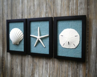 Cottage Chic Set of Beach Wall Art, Art, Sea Shells Home Decor, Beach House Wall Decor, Bathroom Decor, Coastal Art, Coastal Decor, Nautical