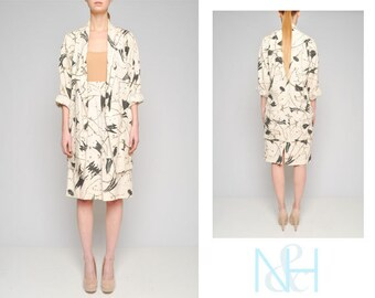 Vintage 90s Splatter Print Two-Piece Set with Oversized Blazer and Skirt