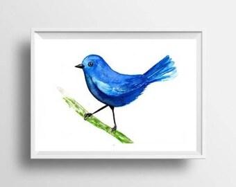 Blue bird watercolor painting abstract bird print wall art decor bird poster nursery decoration bird print nursery decor turquoise artwork