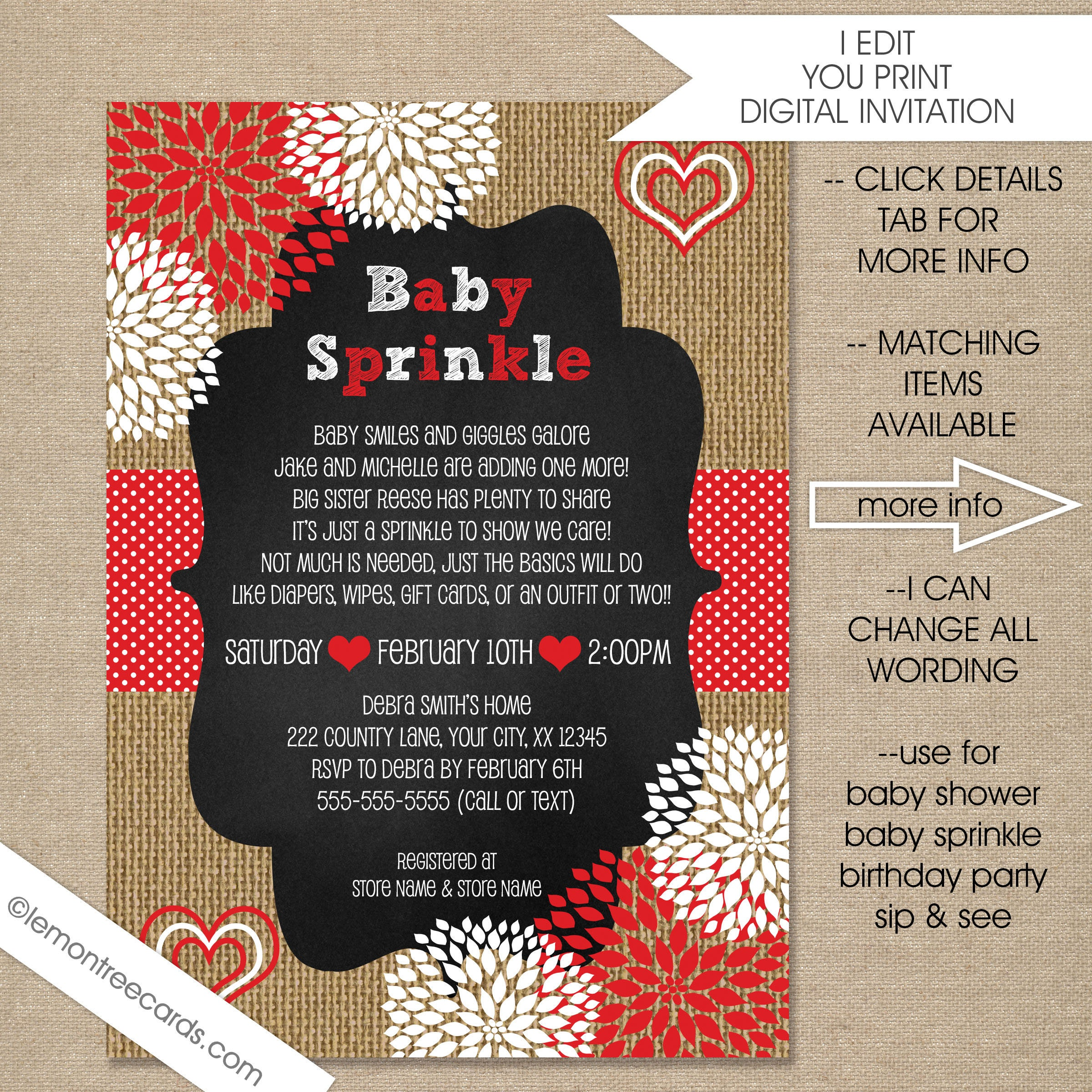 Valentine Baby Sprinkle invitation neutral gender baby
