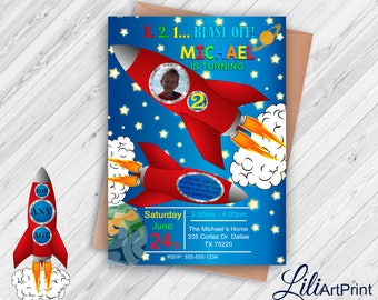 Space Invitation, Space Birthday Invitation, Rocket Invitation, Rocket Invite Printable, Digital file, 1