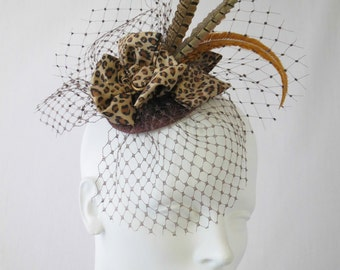 Leopard Fascinator with Vintage Veil, Feathers in Autumn Colors, 1940s Style Cocktail Hat