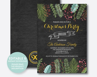 Instant Download, Editable Christmas Holiday Invitation, Christmas Invitation, Eat Drink And Be Merry, Christmas Party, Chalkboard (CHI.15)