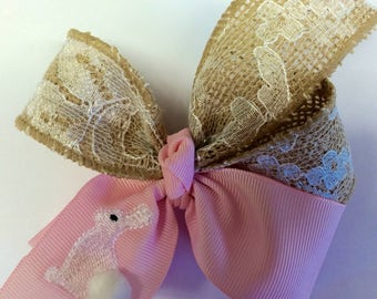 Easter Hair Bow, Burlap Lace, Vintage Embroidered, Bunny Bows, Appliquéd, Custom Boutique, Medium Classic, Pinwheel Hairbow, Girls Unique