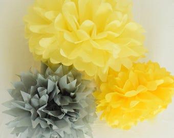 Yellow & Grey Paper Tissue Pom Poms, Neutral Baby Shower Decor, Birthday Party, Cake Smash Prop, Wedding