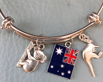 Australia Silver Bangle, Inspired by Charm Bracelet Australia Down Under Outback, Koala and Kangaroo, Explore, Flag, Travel, Aussie