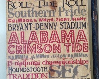 Awesome University Of Alabama Typography Crimson Tide Art On Wood, Alabama Sign,  Alabama Wall Decor