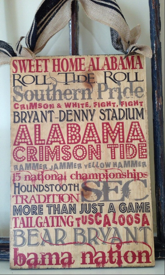 University of Alabama Typography Crimson Tide Art on Wood, Alabama Sign, Alabama Wall Decor, Boys Room, College Decor, Alabama Football Sign