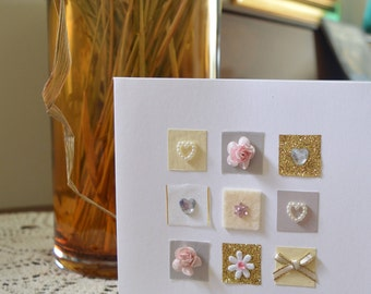 Gorgeous Handmade Greeting Card - Ideal for an Anniversary or Wedding! Blank for your own message