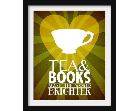 Bookworm Gift Tea and Books Geek Wall Art Book Lover Gift