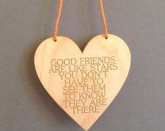 Good friends birch faced laser plywood hanf#ging heart