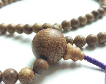 Big joy: Wood 108 mala, bead size 8,3 mm (purple mala cord)