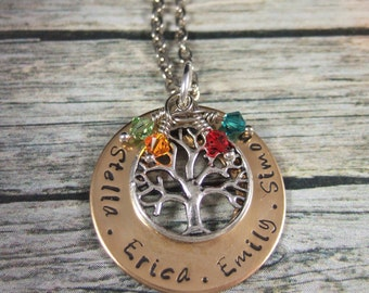 Family Tree Necklace, Mother's Day Gift for Mom, Grandma Gift, Kids' names Necklace, Personalized Jewelry for Mom, Jewelry for Grandma