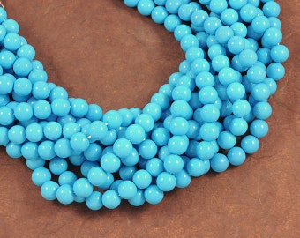 Turquoise Blue Smooth Glass 10mm Rounds - Full 16 inch Strand