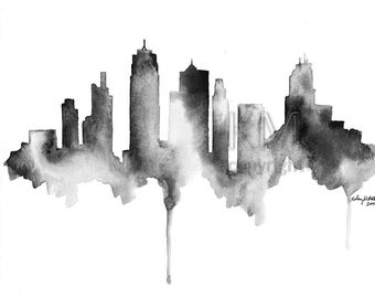 Watercolor Painting Kansas City Skyline Print Watercolour Wall Art Minimalist Painting Black and White Art Large Wall Art Housewarming Gift