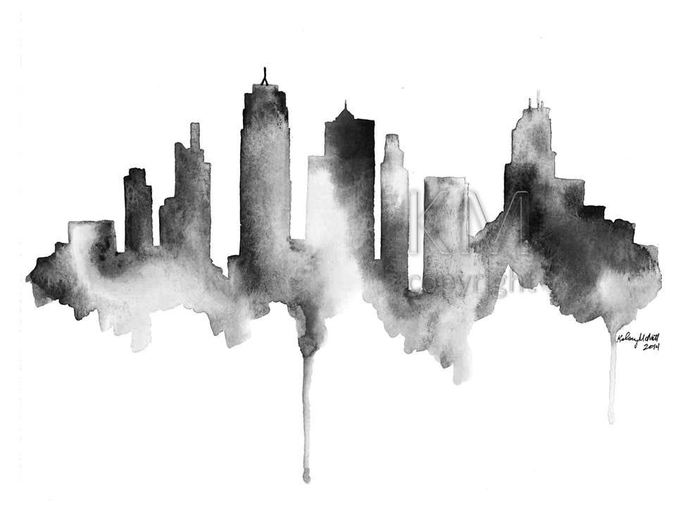 Watercolor painting kansas city skyline print watercolour wall for Tattoo shops in bartlesville ok