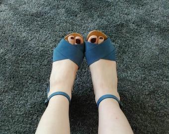 Clogs, high heels.