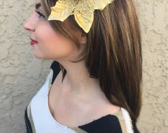Gold Poinsettia Flower Hair Clip - Christmas Holiday Hair Clip - Festive Hair Clip - Christmas Hair Accessories - Holiday Outfit