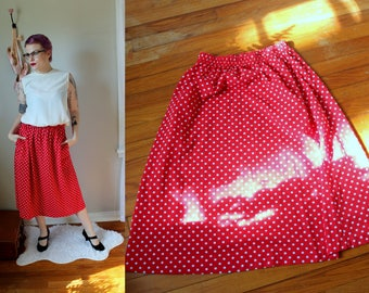 Vintage Minnie Skirt // 1980's Red Midi Skirt with White Polka Dots and Pockets // David Smith Cotton Skirt with Elastic Waist Size 8