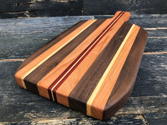 Cheese board made from walnut, birch, bloodwood and cherry woods