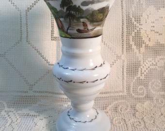 Antique Milk Glass Vase C. 1900 Blown and Hand Decorated Vase with Italian Scene