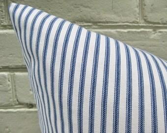 Pillow Cover Indigo Blue Ticking Stripes