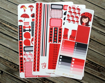 Ladybug Spring Showers Weekly Planner Stickers Kit - for use with Erin Condren Life Planner - Happy Planner