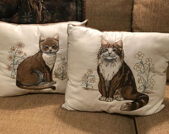 Pair of Handmade VINTAGE Cat Pillows, brown