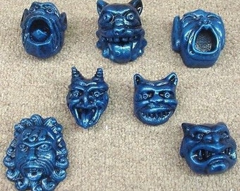 Gargoyle Weird Art Set 7 Hunky Punks Faces Mythical Wall Sculpture AOH Studio