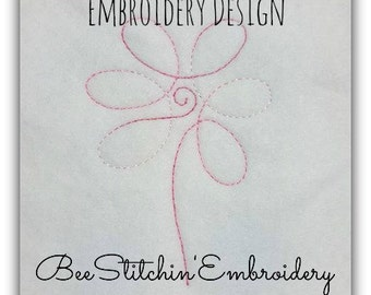 FLOWER Single Line Embroidery 4x4 5x7 6x10 INSTANT DOWNLOAD