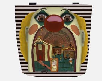 Creepy Circus (Everyday Use) Black & White Striped Tote Bag