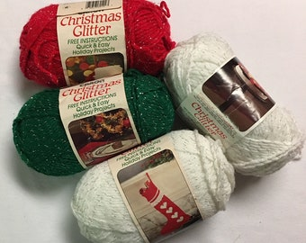 Caron Christmas Glitter 4 Skeins Yarn Various Colors