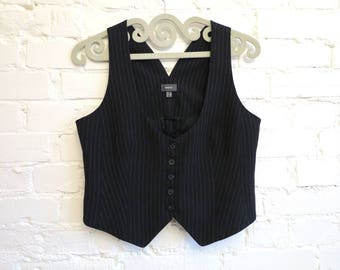 Black Striped Vest Womens Vest Steampunk Vest Edwardian Victorian Formal Fitted Waistcoat Large Size