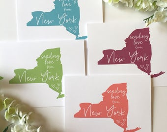Love from New York - Sending Love - New York Card - NYC - NY - New York Love - New York City - Big Apple - Greeting Card - Miss You