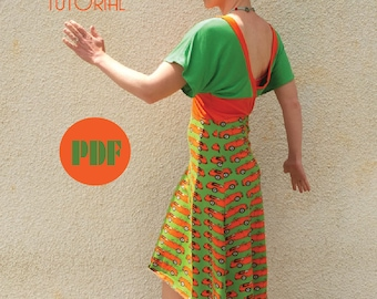 V-Neck Jersey Summer Dress Sewing Pattern and Tutorial Instant Download PDF