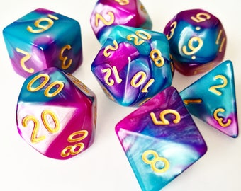 Teal/Fuchsia Dual Colour Dice, Polyhedral Dice Set, D&D, Dungeons and Dragons, RPG, Roleplaying, Pathfinder, Set of 7, Blue Purple-Pink