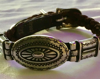 Vintage Genuine Brown Leather Bracelet with Silver Charm