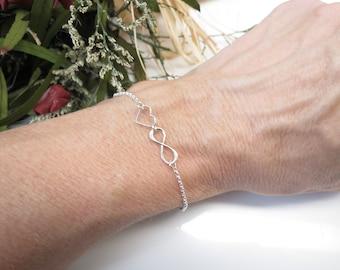 Infinity With Heart Bracelet, Infinity Bracelet In Sterling Silver, Open Heart Bracelet, Delicate Heart Bracelet In Sterling, 6-8.5 Inches