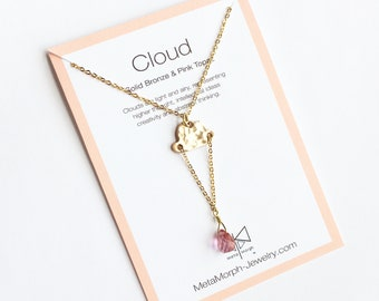 Cloud Necklace, Gifts for Artists, Children's Necklace, Gold Cloud Necklace, Pink Topaz Necklace, Pink Topaz Jewelry, Dainty Necklace, Boho