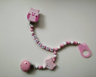 Clip pacifier and clip-pink blanket/OWL