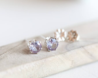 Alexandrite Earrings | BIRTHSTONE STUD EARRINGS | Sterling Silver or Gold Stud Earrings  Bridesmaid Birthday Gift | June Birthstone Earrings