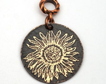 Sunflower pendant, round flat antiqued etched copper flower jewelry, optional necklace, 28mm